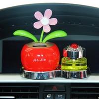 汽车太阳能公仔摆件 车载太阳花香水座 苹果花摆动摆件汽车内饰品