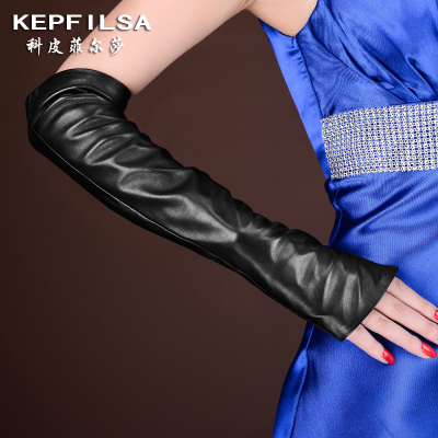 leather gloves female winter long section arm sleeve cuff drove velvet warm sheepskin half finger mitts Korea
