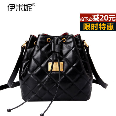 Yi Mini first layer of leather bucket bag leather classic European and American small fragrant wind Quilted Drawstring Shoulder Messenger Handbag special