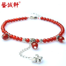 Art sincere a small room Red agate fashion chains Tibetan silver pendant crystal anklets Butterfly heart clasp first fashion accessories