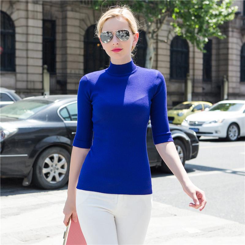 欧美2015秋季新款女装半高领五分袖针织衫女修身显瘦套头中袖打底