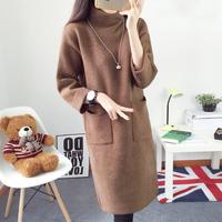 2015冬装新款中长款毛衣女高领长袖纯色百搭针织衫套头针织衫女