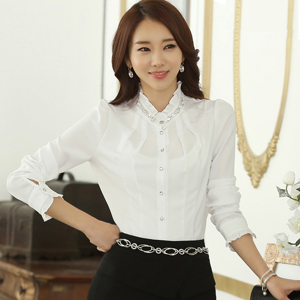 2016 Korean ladies lace collar long t-shirt women slim tops