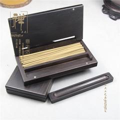 香道用品 紫光檀黑檀香盒 便携式酸枝木翻盖香盒线香炉熏香盒