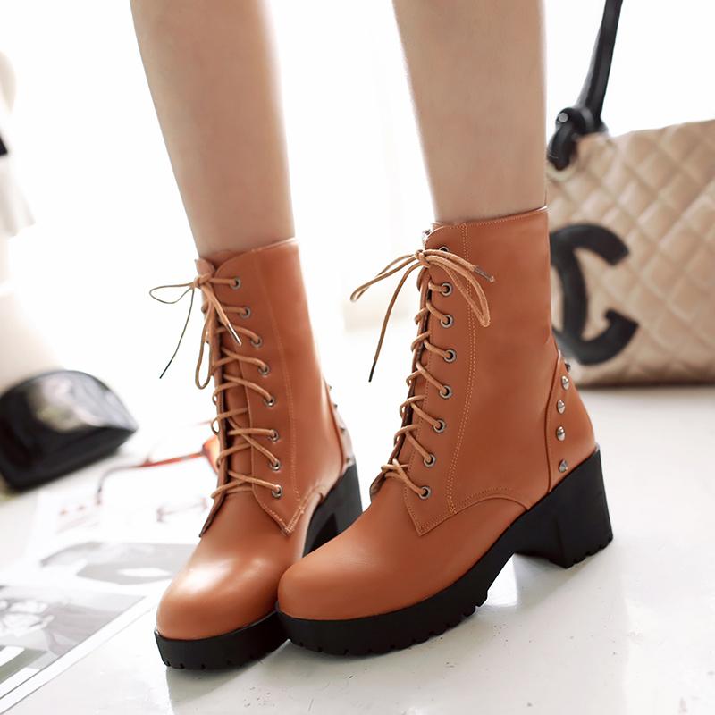 马丁靴女款品牌_2015冬季新款铆钉短靴女马丁靴粗跟防水台绑带英伦潮绒里棉鞋靴子