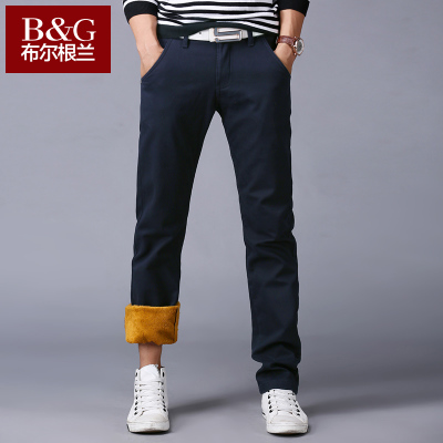 Burgenland men's trousers, men's casual pants plus velvet Dongkuan Slim feet thick trousers casual trousers