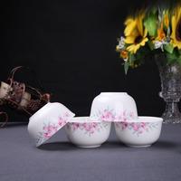 正品泥之歌日式陶瓷餐具4只装花影摇曳金中骨瓷米饭碗