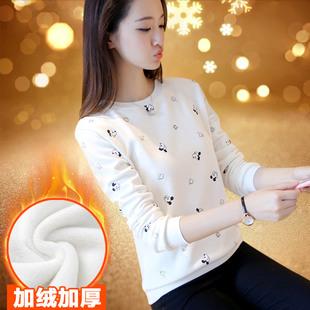 宣蕾秋冬新款加绒卡通卫衣加厚长袖T恤女宽松学生套头保暖打底衫