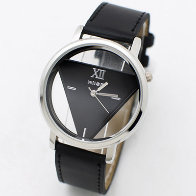 Genuine Veyron inverted triangle-sided hollow transparent fashion watches Wilon-1016 Leather Watch