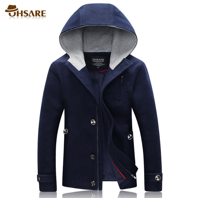 秋冬装男士连帽羊毛毛呢大衣青年潮男装韩版修身大码呢子夹克外套