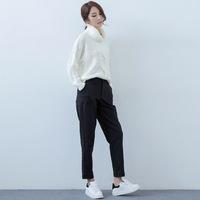 2015韩版修身大口袋毛呢哈伦休闲裤好质量大码毛呢长裤子女