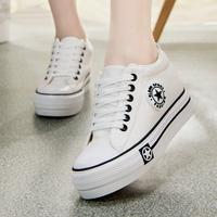 韩版纯色松糕跟帆布鞋女低帮厚底内增高潮鞋休闲学生鞋布鞋运动鞋