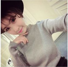 Ai jiayi in accordance with the new spring 2015 Feminine temperament of European and American socialite cultivate one's morality comfortable auger drill collar sweater
