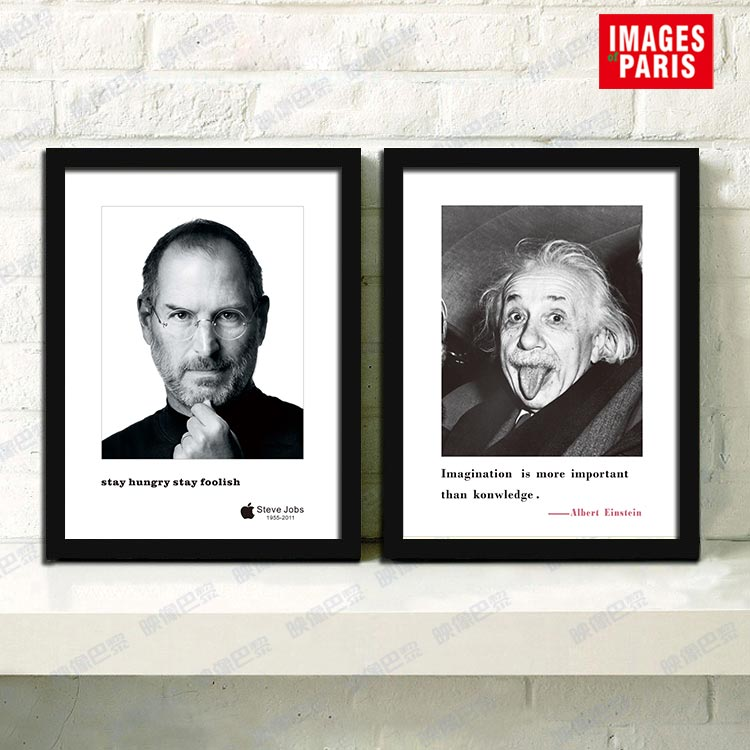 爱因斯坦乔布斯装饰画办公室励志挂画有框画酒吧壁画黑白墙画