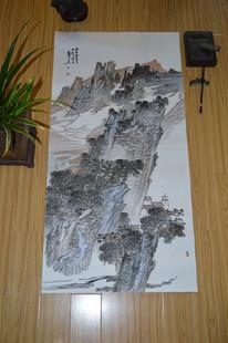 莫高原创真迹名人国画山水书法深山古寺图手绘画芯四尺十品包邮