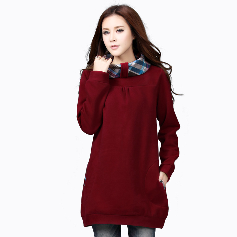 秋冬大码女装卫衣加厚加绒套头中长款纯色宽松休闲显瘦卫衣外套女