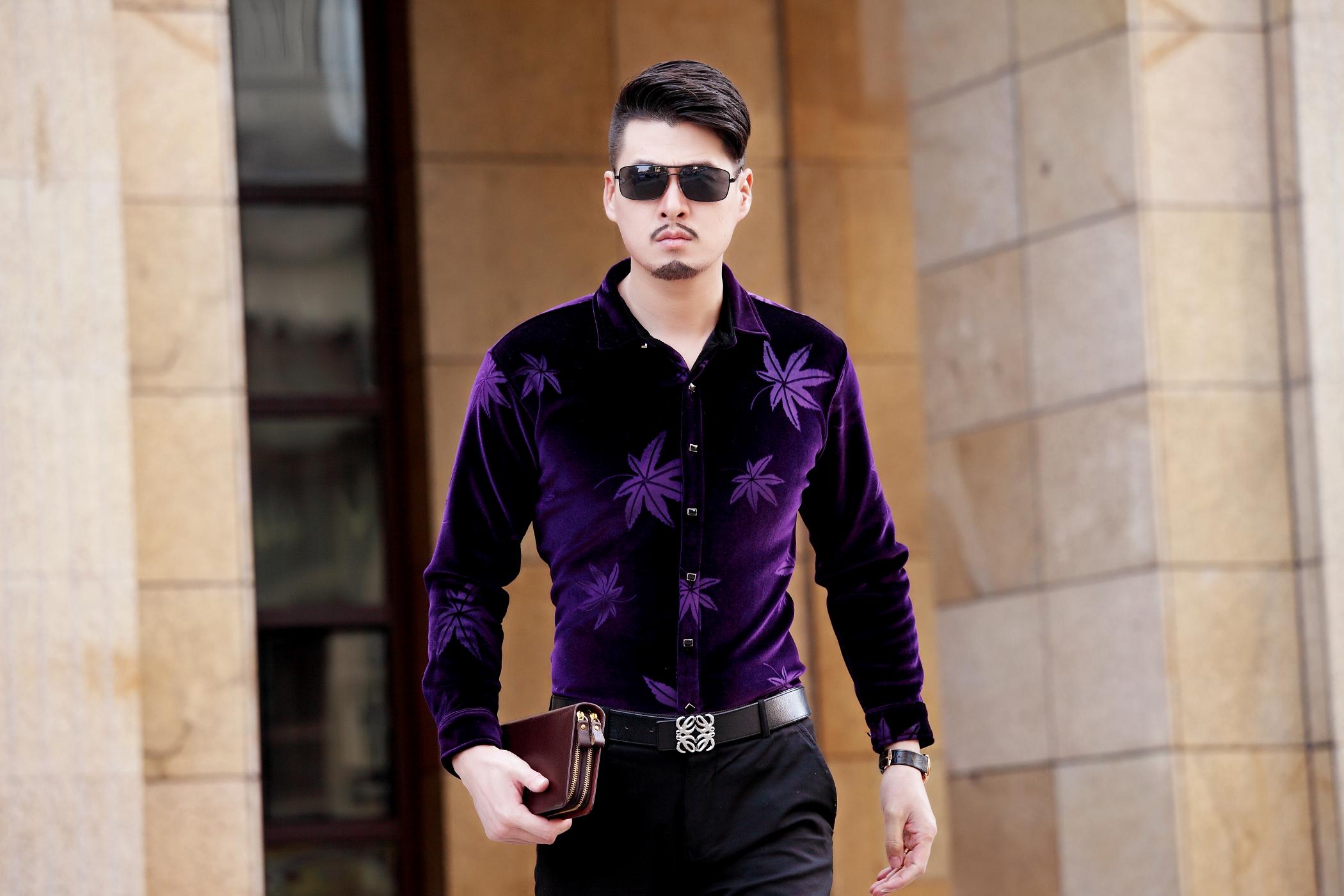 进口金丝羊绒男装长袖衬衫 正品薄款单免烫中年男冬季韩版衬衣