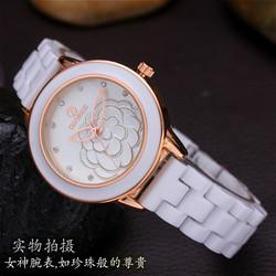[最后9小时] 正品陶瓷女表白色玫瑰金女士石英手表 瑞士防水带镶水钻时装腕表