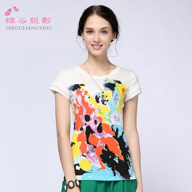 2014夏装新款女装上衣 复古韩版修身印花白色宽松纯棉短袖t恤 女
