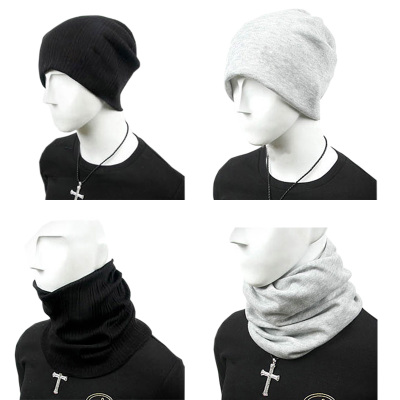 Buy one get one male in autumn and winter hat scarf cap hat men Baotou winter hat scarf sets of dual-use headgear