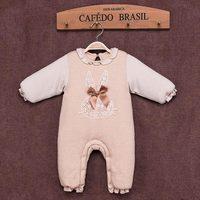 2016秋冬款童装新品婴儿连体衣天然有机彩棉保暖夹棉加厚哈衣