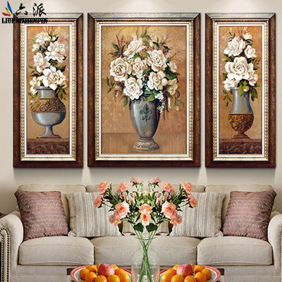 六派 美式欧式花卉三联客厅装饰画 沙发背景墙挂画手绘肌理油画图片