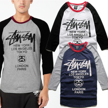 Tide in Europe and America brand fashion stussy west coast classic raglan color matching seven stars sleeve personality cotton T-shirt tee
