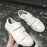 2016春夏新品白色魔术贴真皮情侣乐福鞋一脚蹬单鞋