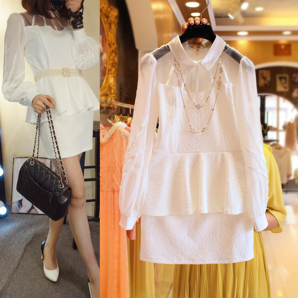 5387 2015 spring new Korean ladies stitching embroidered organza perspective ultra-thin dress flouncing