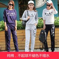 秋季睡衣女韩版纯棉长袖宽松加大码可爱休闲运动家居服套装两件套