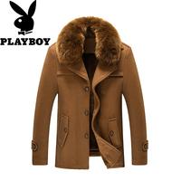 冬季羊毛尼风衣短款男士毛领加厚棉风衣毛呢大衣直筒修身爸爸外套