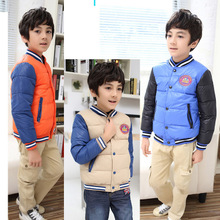 Sales of foreign trade children's down jacket Boy paragraphs short down jacket small dad with wholesale baseball uniform manufacturer