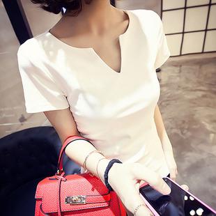 汐颜花语新款小V领白色棉T恤短袖女黑色春夏上衣桃心领打底衫修身