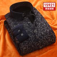 中青年男装保暖衬衫加绒加厚双面绒 印花格子款修身休闲衬衣潮