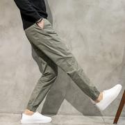 春季男裤子工装束脚裤直筒裤男宽松小脚束口收脚裤