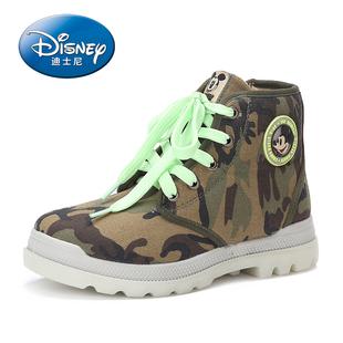 迪士尼雪地靴 男童2014冬款儿童夜光鞋中筒马丁靴系带迷彩 男靴