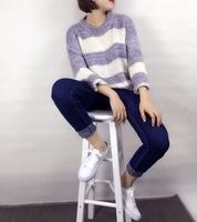 海马毛衣女套头秋装新款学生镂空圆领长袖韩版宽松短款条纹针织衫