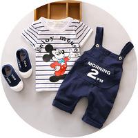 2016夏季 儿童男女童01234岁宝宝两件套背带裤纯棉 童装 一件代发