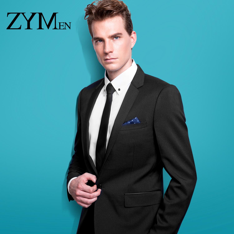 ZYMEN免烫西服套装男士 职业商务休闲韩版黑色修身结婚伴郎西装