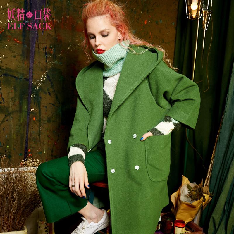 妖精的口袋P各自温柔冬装羊毛宽松双排扣连帽大衣毛呢外套女长款