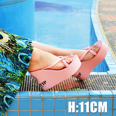 youth summer high with sandals muffin-slip heavy-bottomed sandals slope with sandals and slippers women in Europe and America tide