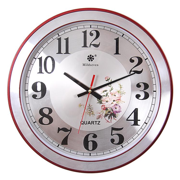 七王星12英寸圆形挂钟田园电子石英钟创意钟表卧室客厅静音挂钟