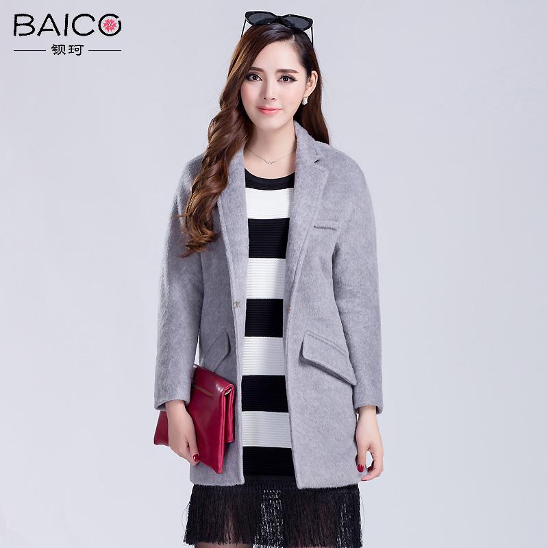 钡珂2016冬装新款茧型大牌立领羊毛呢外套女中长款大衣K155S297