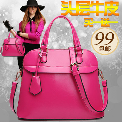 Ms. bag 2014 new tide shell female header layer leather bag leather shoulder bag large bag hand diagonal