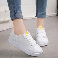 夏秋季韩版笑脸鞋平底板鞋小白鞋女系带休闲运动鞋单鞋学生女鞋潮