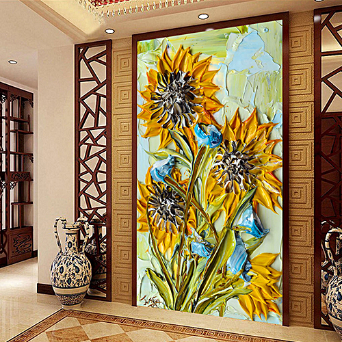 continental oil painting sunflower aisle Hyun off large-scale mural custom corridor Vertical version video wall paintings decorate