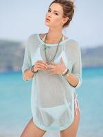 海滩渡假镂空套头中袖钩花衫 性感比基尼罩衫 沙滩衣防晒衣
