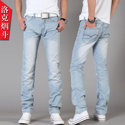Locke pipe nzk jeans Slim influx of young men Dongkuan Korean wild blue white feet not tight