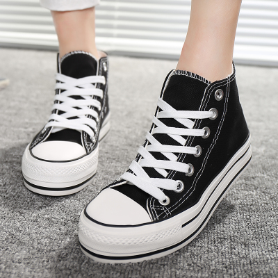 New Korean tide muffin heavy-bottomed canvas shoes, casual shoes for men and women couple high-top shoes, small white female students