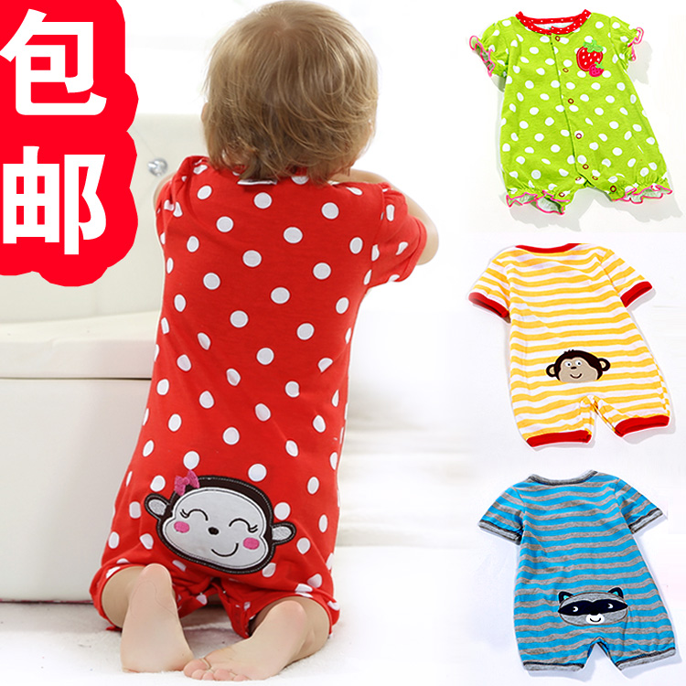 Baby baby Jump suit summer clothing shirt open files, 0 and 1 year old climb clothes Taobao Agents